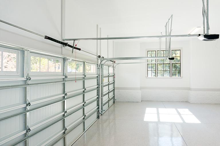 White garage door install